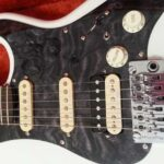 black quilt maple pickguard white Strat