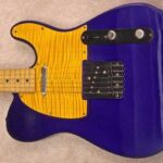 figured maple pickguard on Midnight Blue tele