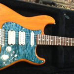 Strat with blue quilt maple pickguard
