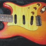 gold quilted maple pickguard, sunburst strat