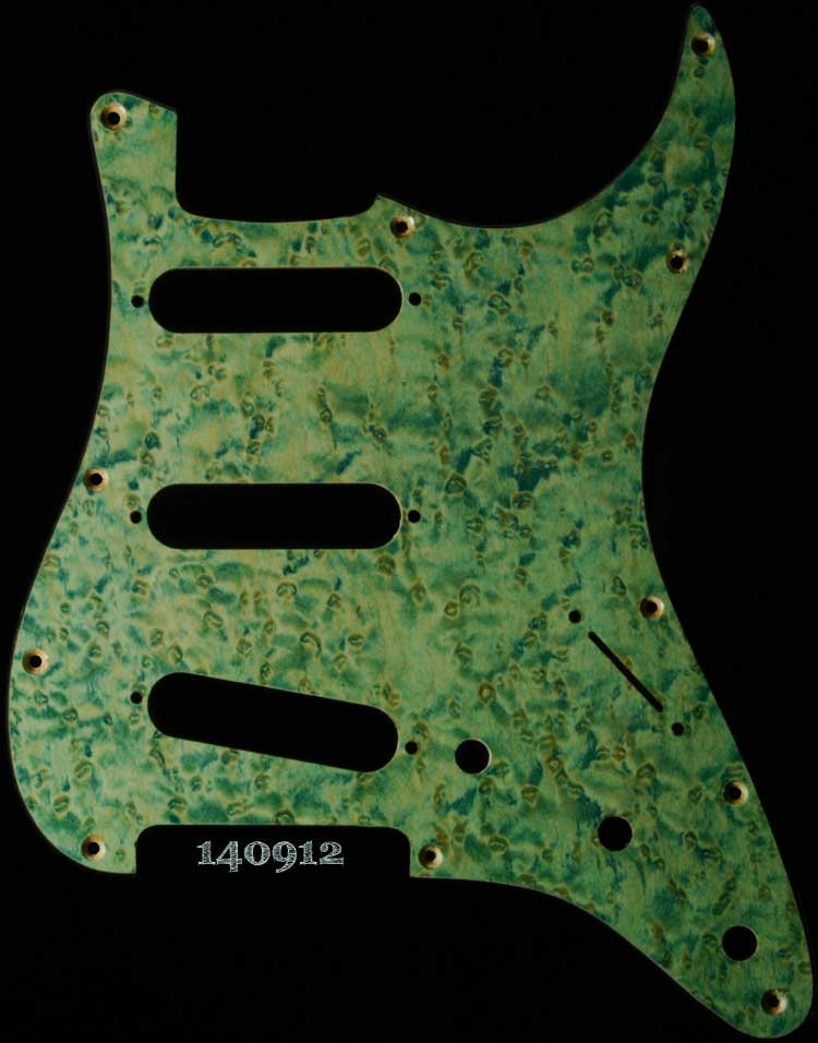 aqua birdseye strat maple pickguard 912