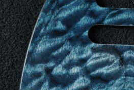 detail image blue quilt tele maple pickguard 125a
