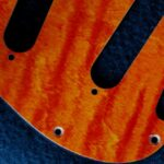 detail image orange curly strat pickguard 830b