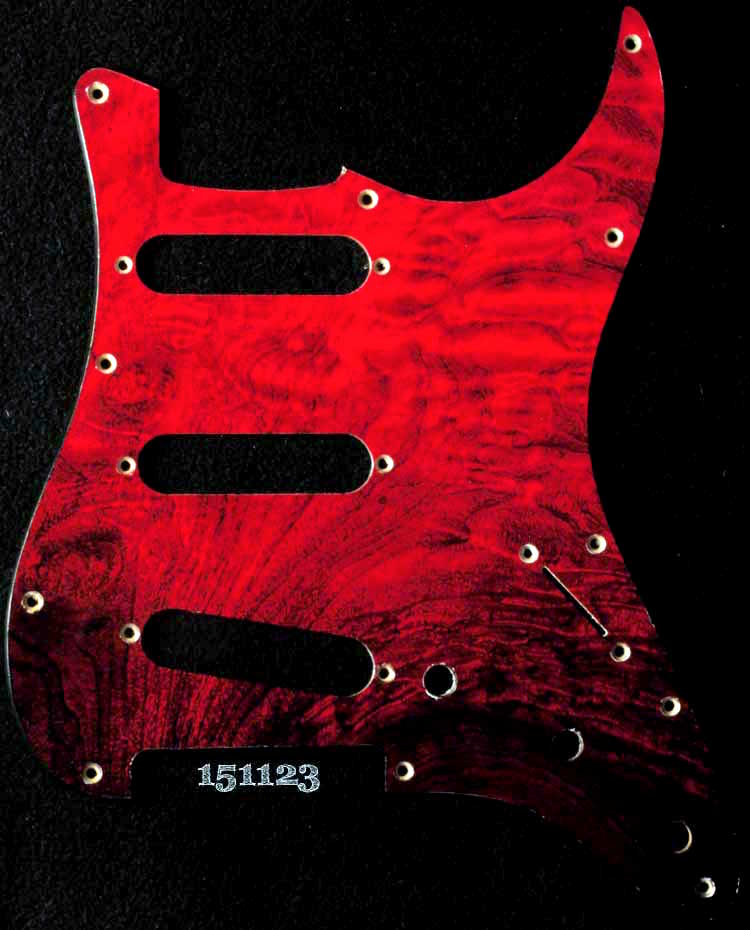 red quilted strat maple pickguard 123