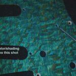 aqua silky oak Strat pickguard detail