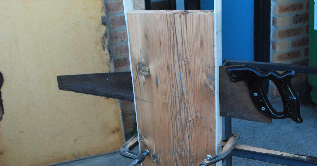 handsaw splitting old Oregon blank