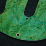 Strat green Birdseye Maple pickguard detail b