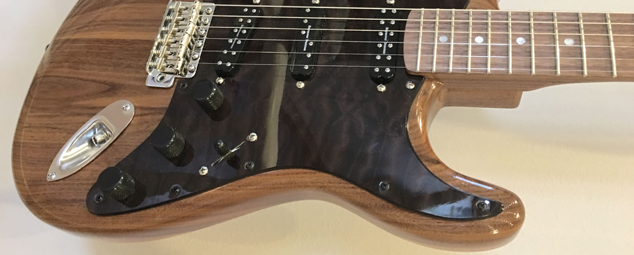 walnut quilted maple Strat pickguard