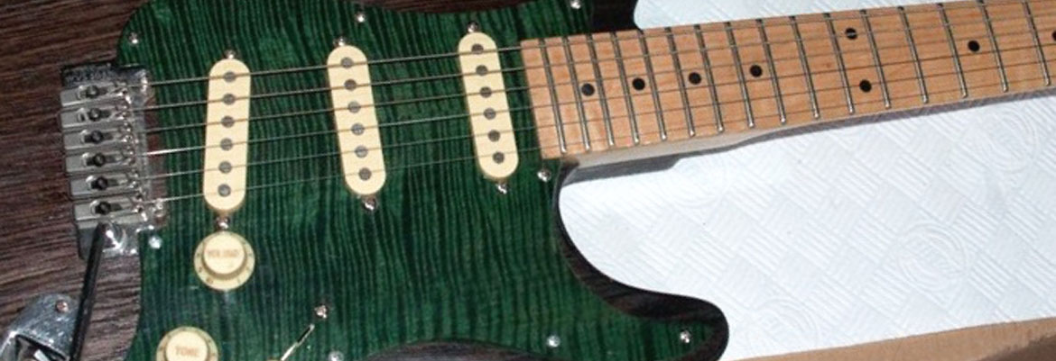 green stain real figured maple pickguard for strat