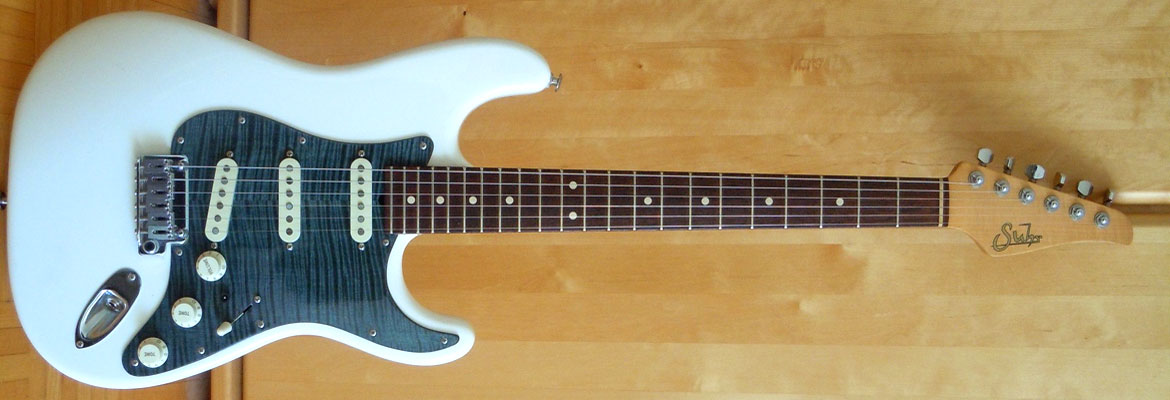 blue maple pickguars on Suhr Strat